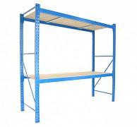 Profesionálny Regál BIEDRAX základný 100 x 180 x 250 cm, 2 police - nosnosť 350 kg/polica, modrý